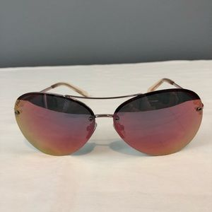 Cole Haan Aviator Sunglasses, Rose Gold Flash